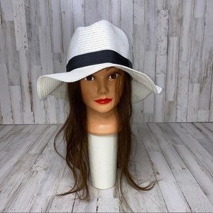 NEW White Black Straw Beach Vacation Sun Hat